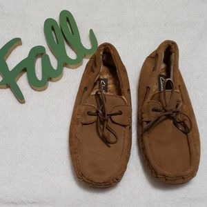 CLARKS brown suede faux fur lined moccasins